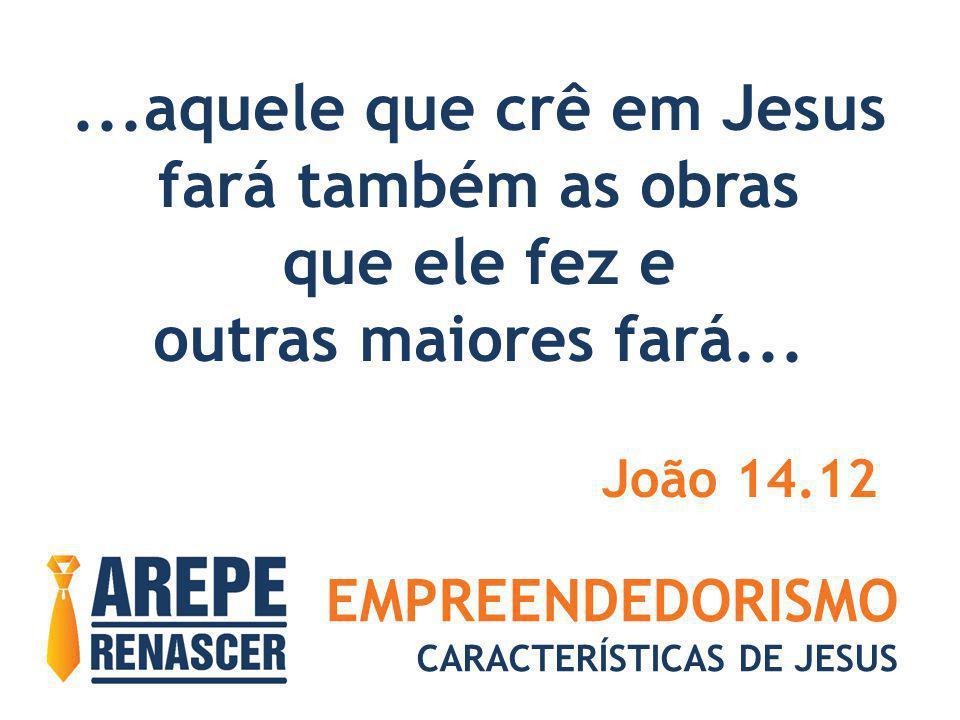 EMPREENDEDORISMO CARACTERÍSTICAS DE JESUS...aquele que crê em Jesus fará também as obras que ele fez e outras maiores fará... João 14.12