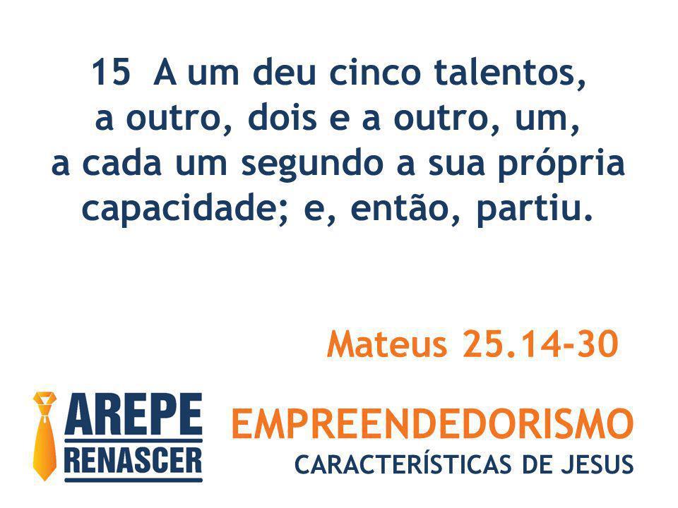 EMPREENDEDORISMO CARACTERÍSTICAS DE JESUS 15 A um deu cinco talentos, a outro, dois e a outro, um, a cada um segundo a sua própria capacidade; e, entã
