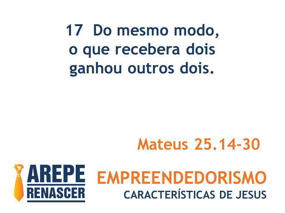 EMPREENDEDORISMO CARACTERÍSTICAS DE JESUS 17 Do mesmo modo, o que recebera dois ganhou outros dois. Mateus 25.14-30