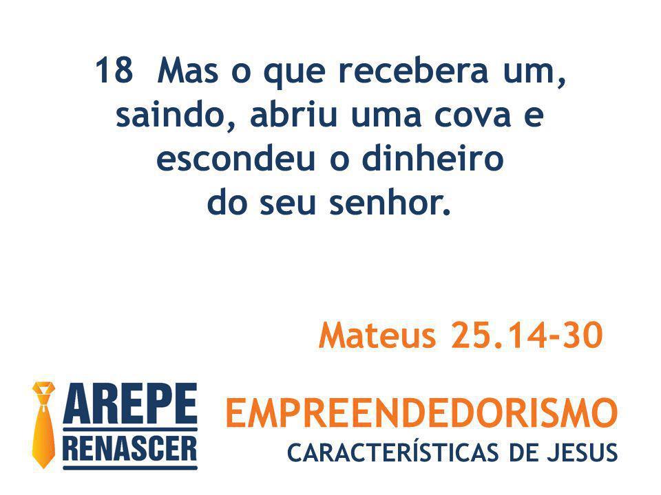 EMPREENDEDORISMO CARACTERÍSTICAS DE JESUS 18 Mas o que recebera um, saindo, abriu uma cova e escondeu o dinheiro do seu senhor. Mateus 25.14-30