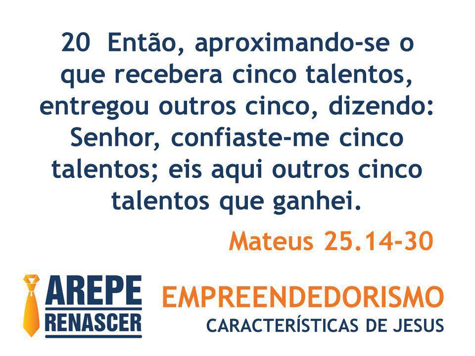 EMPREENDEDORISMO CARACTERÍSTICAS DE JESUS 20 Então, aproximando-se o que recebera cinco talentos, entregou outros cinco, dizendo: Senhor, confiaste-me