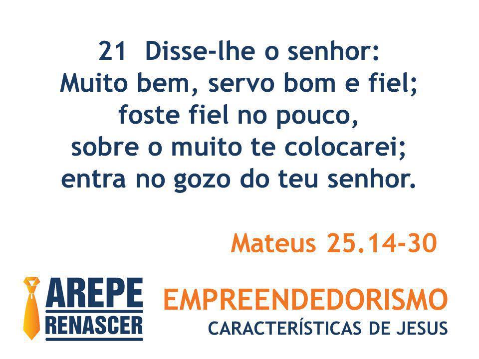 EMPREENDEDORISMO CARACTERÍSTICAS DE JESUS 21 Disse-lhe o senhor: Muito bem, servo bom e fiel; foste fiel no pouco, sobre o muito te colocarei; entra n