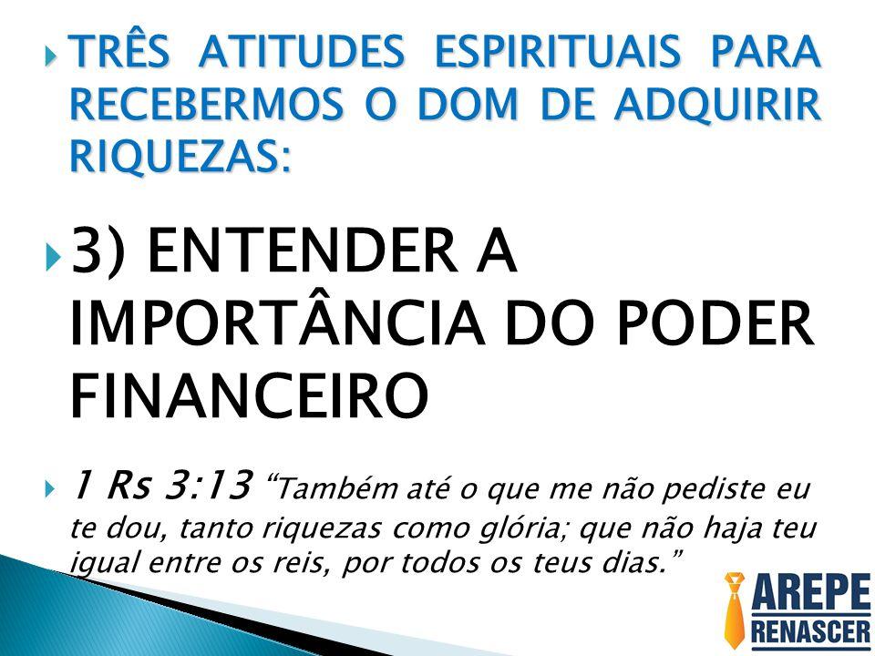 TRÊS ATITUDES ESPIRITUAIS PARA RECEBERMOS O DOM DE ADQUIRIR RIQUEZAS: TRÊS ATITUDES ESPIRITUAIS PARA RECEBERMOS O DOM DE ADQUIRIR RIQUEZAS: 3) ENTENDE