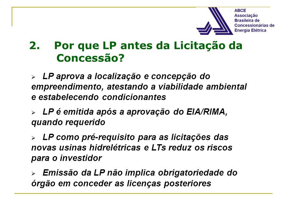 2. Por que LP antes da Licitação da Concessão? LP aprova a localização e concepção do empreendimento, atestando a viabilidade ambiental e estabelecend
