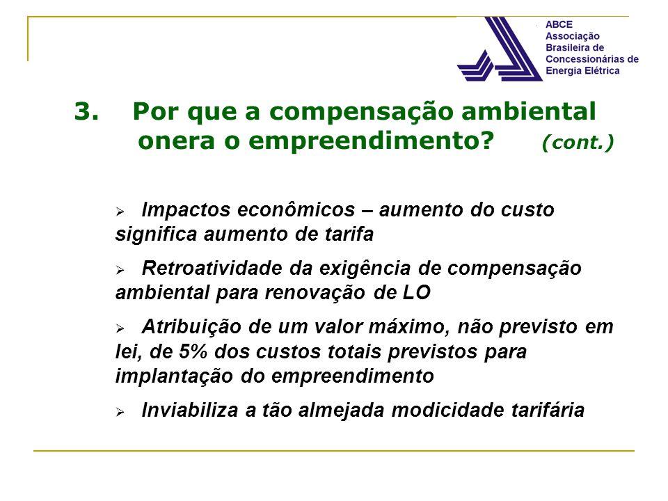 3. Por que a compensação ambiental onera o empreendimento? (cont.) Impactos econômicos – aumento do custo significa aumento de tarifa Retroatividade d