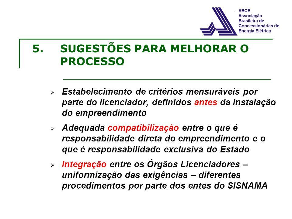 5.SUGESTÕES PARA MELHORAR O PROCESSO Estabelecimento de critérios mensuráveis por parte do licenciador, definidos antes da instalação do empreendiment