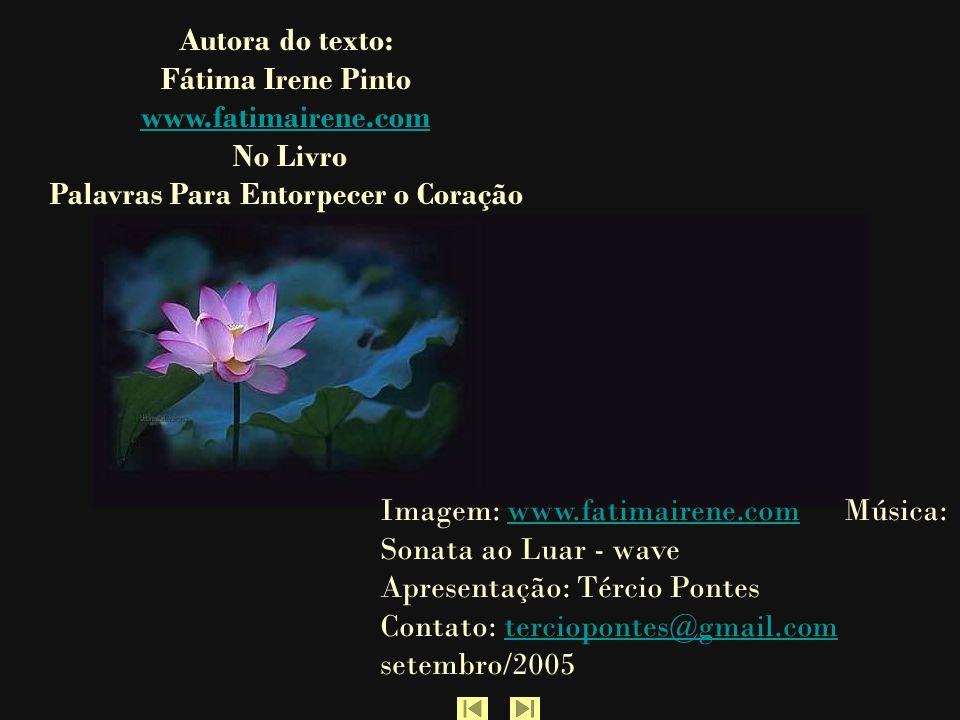 Autora do texto: Fátima Irene Pinto www.fatimairene.com No Livro Palavras Para Entorpecer o Coração Imagem: www.fatimairene.com Música: Sonata ao Luar - wave Apresentação: Tércio Pontes Contato: terciopontes@gmail.com setembro/2005