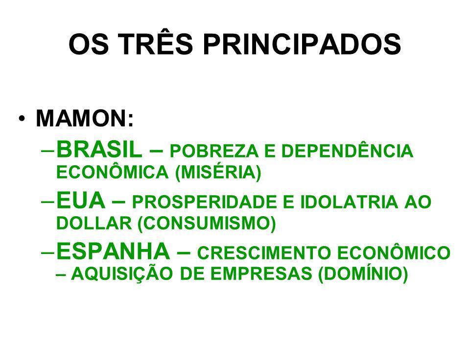 OS TRÊS PRINCIPADOS MAMON: –B–BRASIL – POBREZA E DEPENDÊNCIA ECONÔMICA (MISÉRIA) –E–EUA – PROSPERIDADE E IDOLATRIA AO DOLLAR (CONSUMISMO) –E–ESPANHA – CRESCIMENTO ECONÔMICO – AQUISIÇÃO DE EMPRESAS (DOMÍNIO)