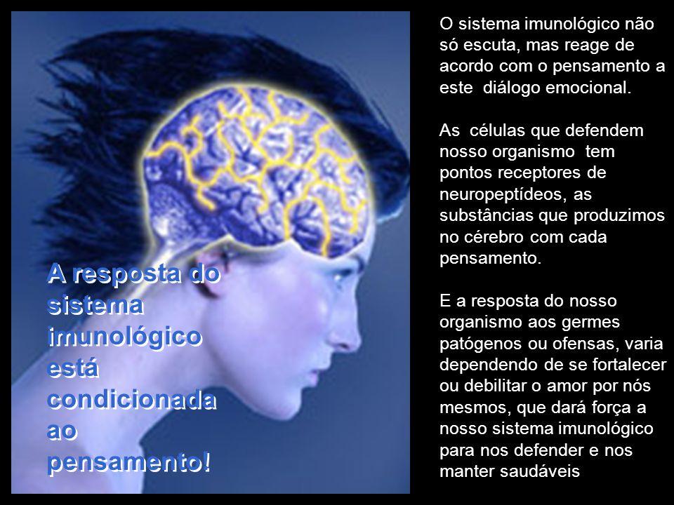 O que importa ao sistema imunológico é aquilo que pensamos, por isso a importância dos pensamentos! O cérebro só cria a doença que conhece e nosso tem
