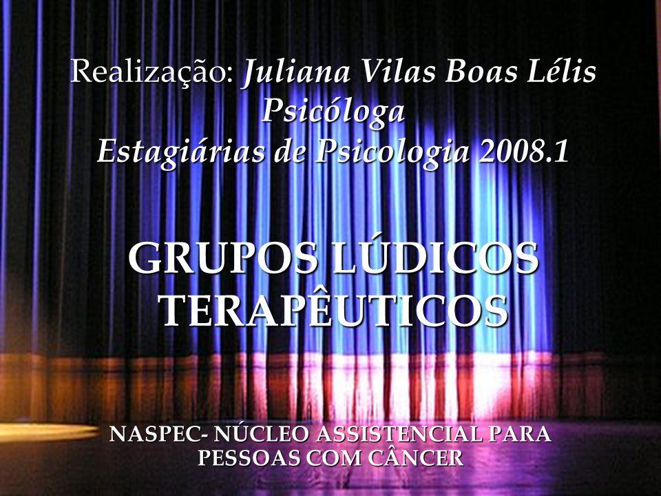 Realização: Juliana Vilas Boas Lélis Psicóloga Estagiárias de Psicologia 2008.1 GRUPOS LÚDICOS TERAPÊUTICOS NASPEC- NÚCLEO ASSISTENCIAL PARA PESSOAS C
