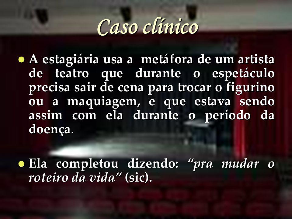 Caso clínico A estagiária usa a metáfora de um artista de teatro que durante o espetáculo precisa sair de cena para trocar o figurino ou a maquiagem,