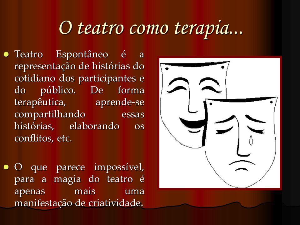 O teatro como terapia... Teatro Espontâneo é a representação de histórias do cotidiano dos participantes e do público. De forma terapêutica, aprende-s