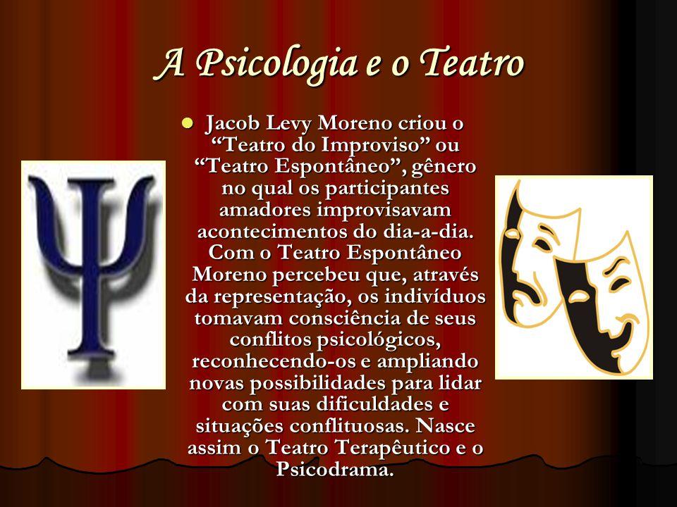 A Psicologia e o Teatro Jacob Levy Moreno criou o Teatro do Improviso ou Teatro Espontâneo, gênero no qual os participantes amadores improvisavam acon