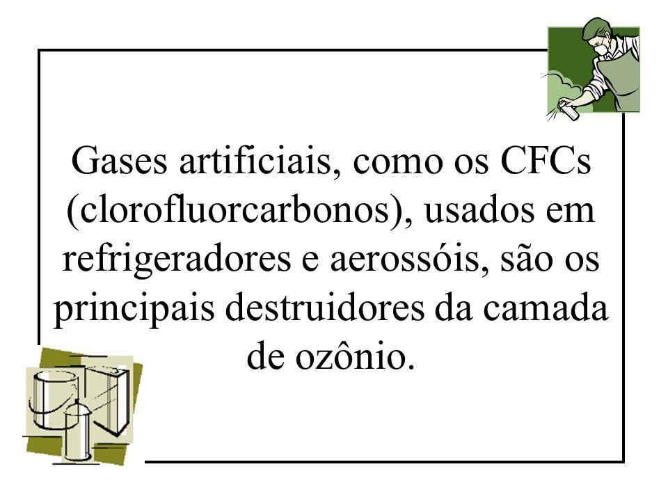 Gases artificiais, como os CFCs (clorofluorcarbonos), usados em refrigeradores e aerossóis, são os principais destruidores da camada de ozônio.