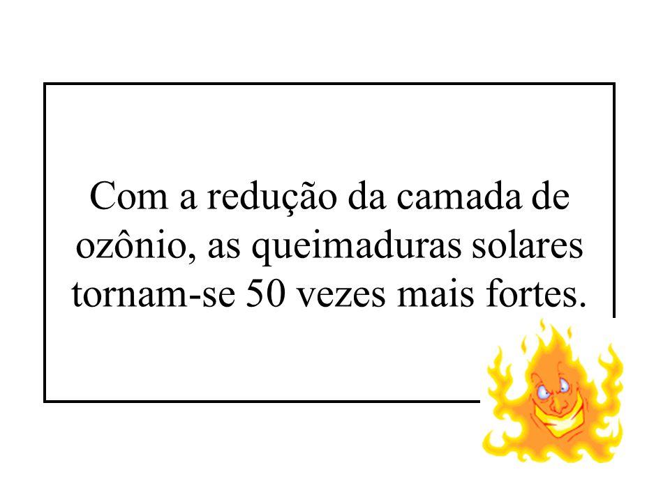 Com a redução da camada de ozônio, as queimaduras solares tornam-se 50 vezes mais fortes.