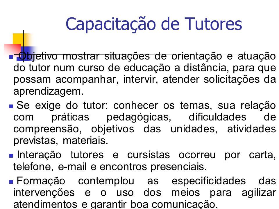 Capacitação de Tutores Objetivo mostrar situações de orientação e atuação do tutor num curso de educação a distância, para que possam acompanhar, inte