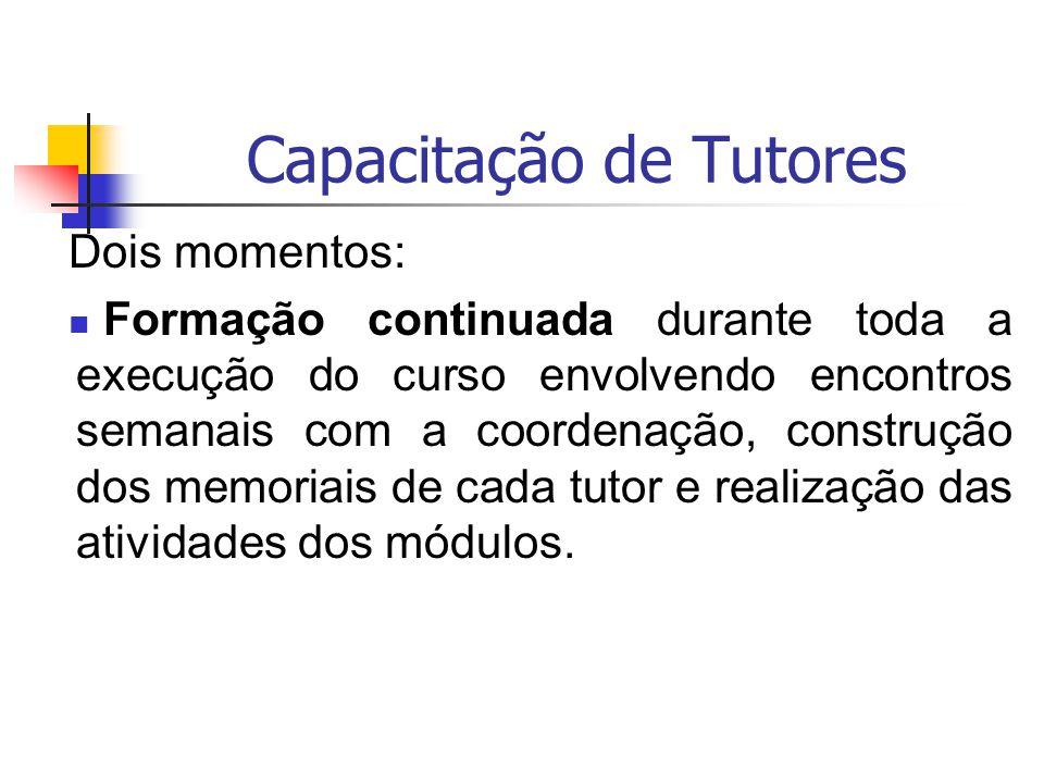 Capacitação de Tutores Dois momentos: Formação continuada durante toda a execução do curso envolvendo encontros semanais com a coordenação, construção