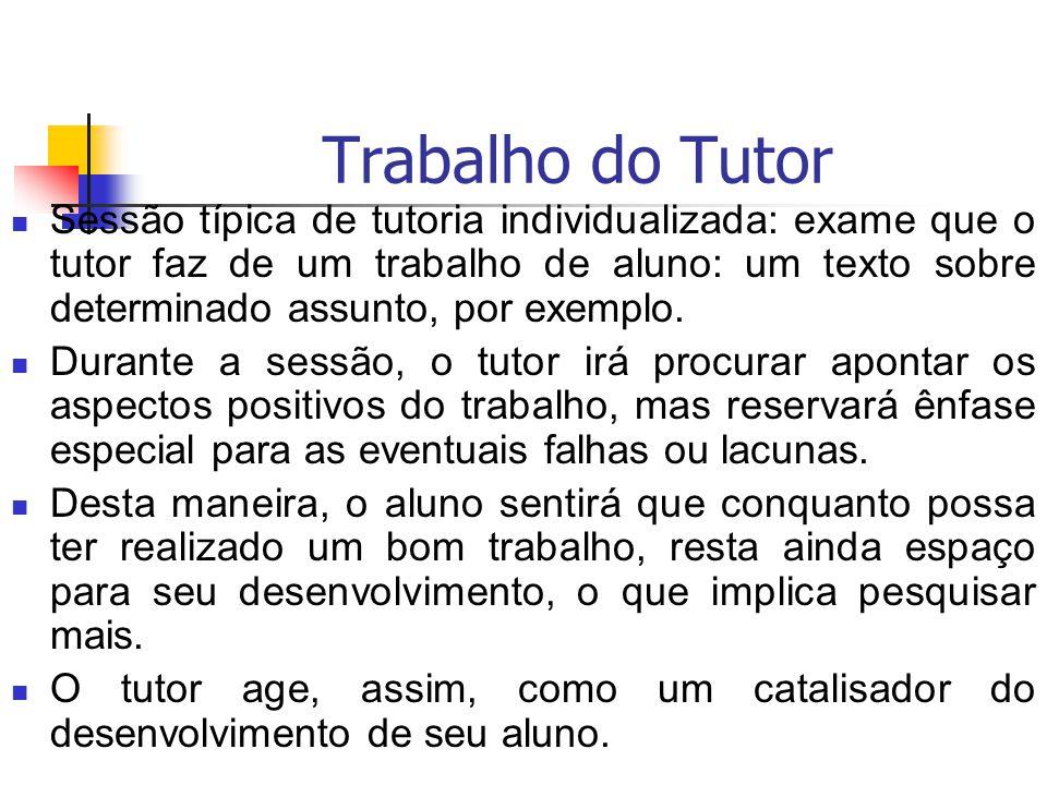 Trabalho do Tutor Sessão típica de tutoria individualizada: exame que o tutor faz de um trabalho de aluno: um texto sobre determinado assunto, por exe