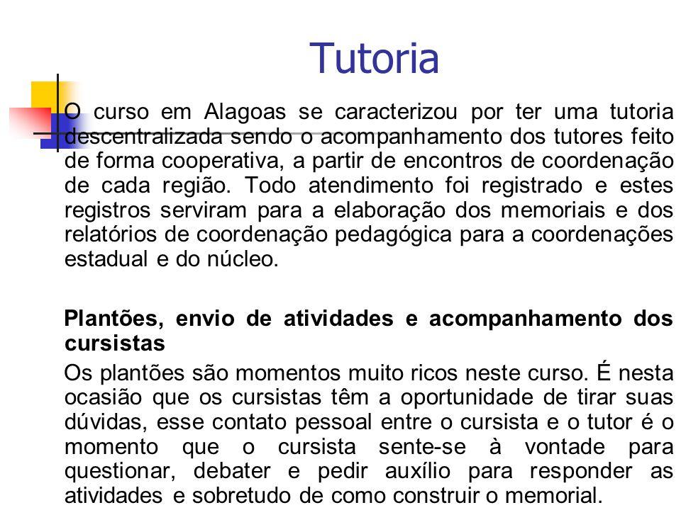 Tutoria O curso em Alagoas se caracterizou por ter uma tutoria descentralizada sendo o acompanhamento dos tutores feito de forma cooperativa, a partir