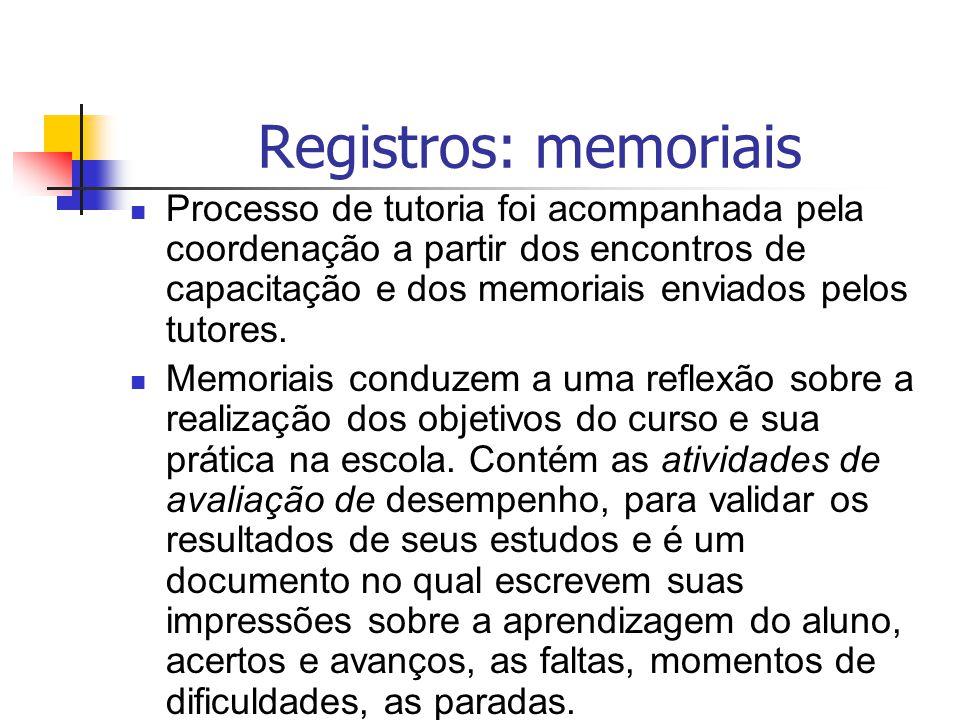 Registros: memoriais Processo de tutoria foi acompanhada pela coordenação a partir dos encontros de capacitação e dos memoriais enviados pelos tutores