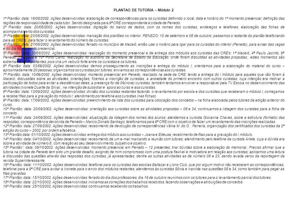 PLANTAO DE TUTORIA – Módulo 2 1º Plantão: data: 16/08/2002. Ações desenvolvidas: elaboração de correspondências para os cursistas definindo o local, d