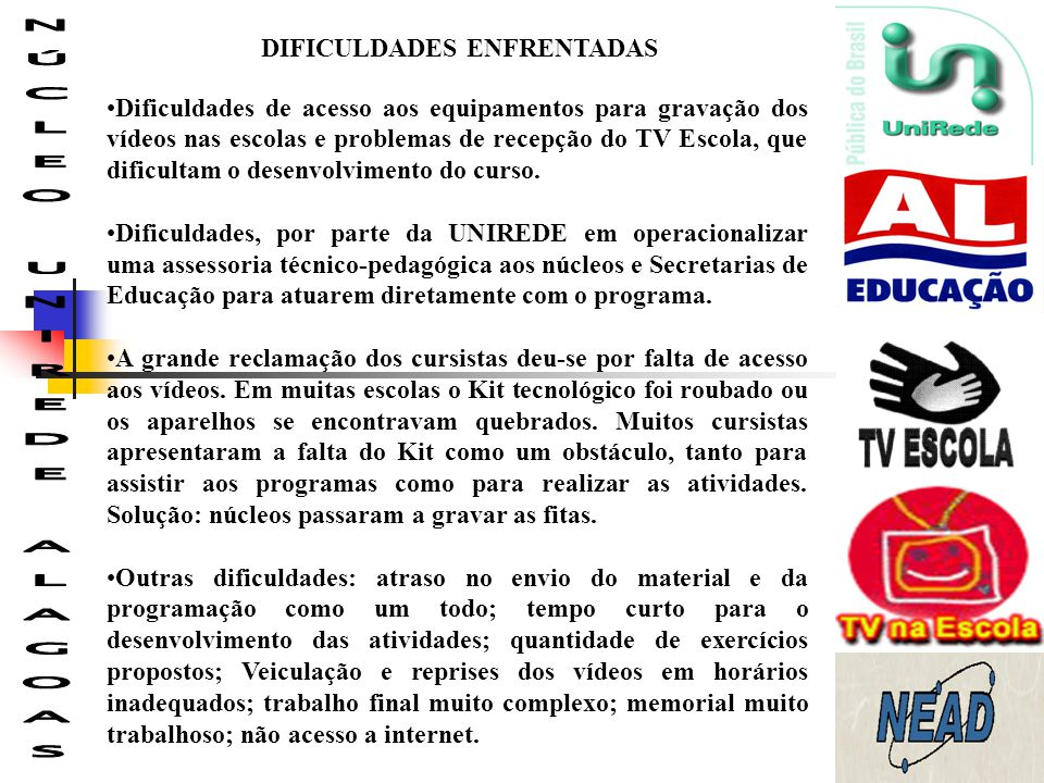 DIFICULDADES ENFRENTADAS Dificuldades de acesso aos equipamentos para gravação dos vídeos nas escolas e problemas de recepção do TV Escola, que dificu