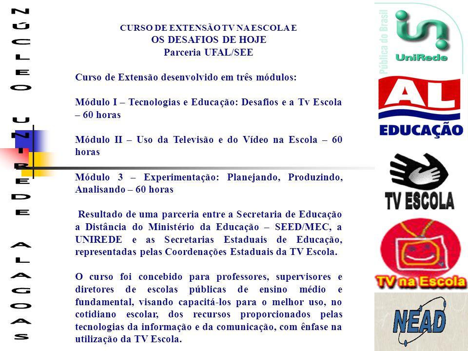 CURSO DE EXTENSÃO TV NA ESCOLA E OS DESAFIOS DE HOJE Parceria UFAL/SEE Curso de Extensão desenvolvido em três módulos: Módulo I – Tecnologias e Educaç