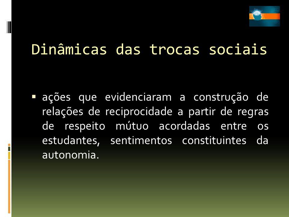 Dinâmicas das trocas sociais ações que evidenciaram a construção de relações de reciprocidade a partir de regras de respeito mútuo acordadas entre os
