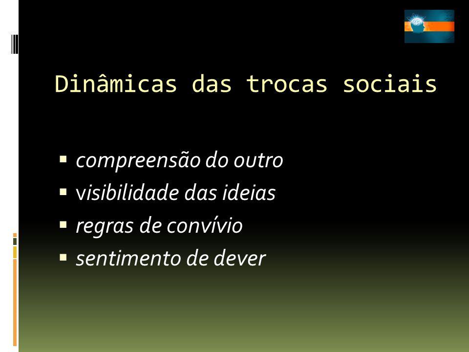 Dinâmicas das trocas sociais compreensão do outro visibilidade das ideias regras de convívio sentimento de dever
