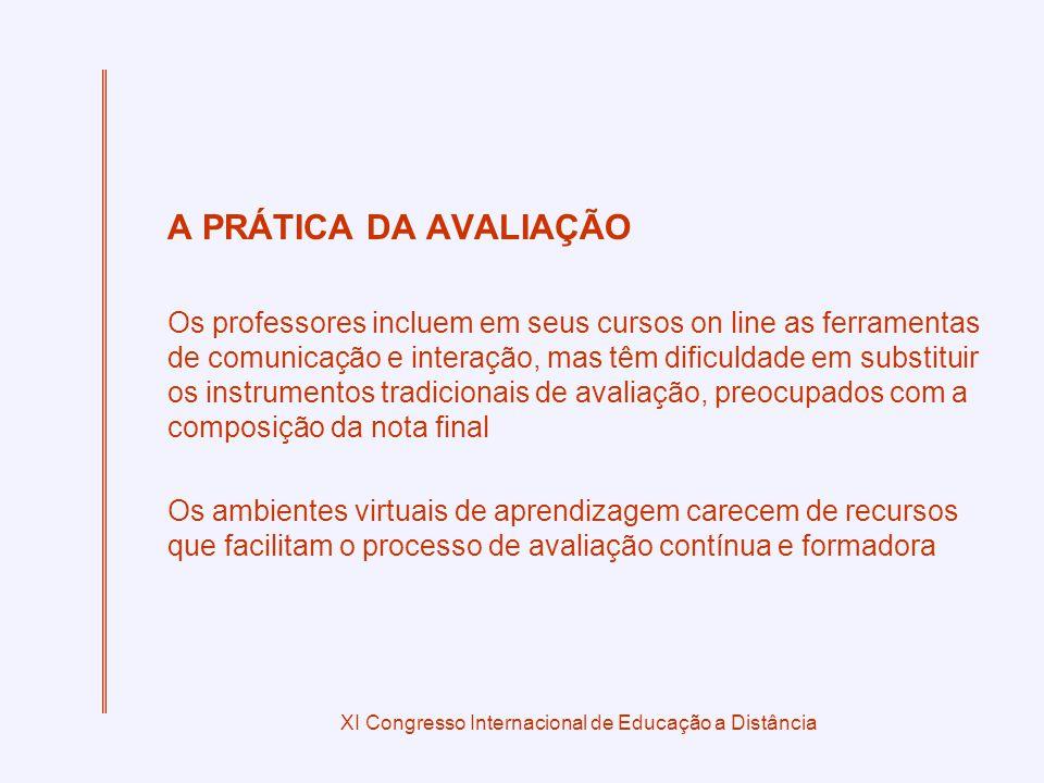 XI Congresso Internacional de Educação a Distância A PRÁTICA DA AVALIAÇÃO Os professores incluem em seus cursos on line as ferramentas de comunicação