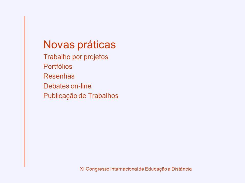 XI Congresso Internacional de Educação a Distância Novas práticas Trabalho por projetos Portfólios Resenhas Debates on-line Publicação de Trabalhos