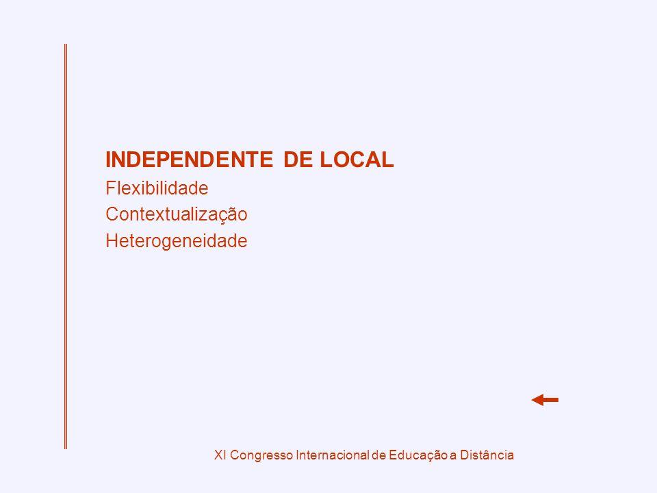 XI Congresso Internacional de Educação a Distância INDEPENDENTE DE LOCAL Flexibilidade Contextualização Heterogeneidade
