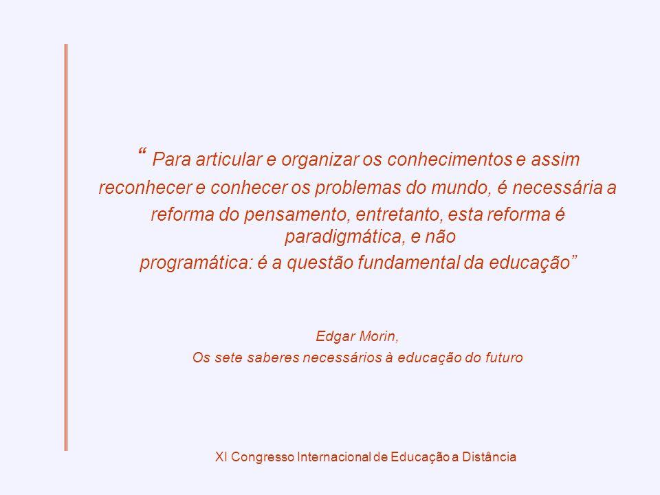 XI Congresso Internacional de Educação a Distância Para articular e organizar os conhecimentos e assim reconhecer e conhecer os problemas do mundo, é