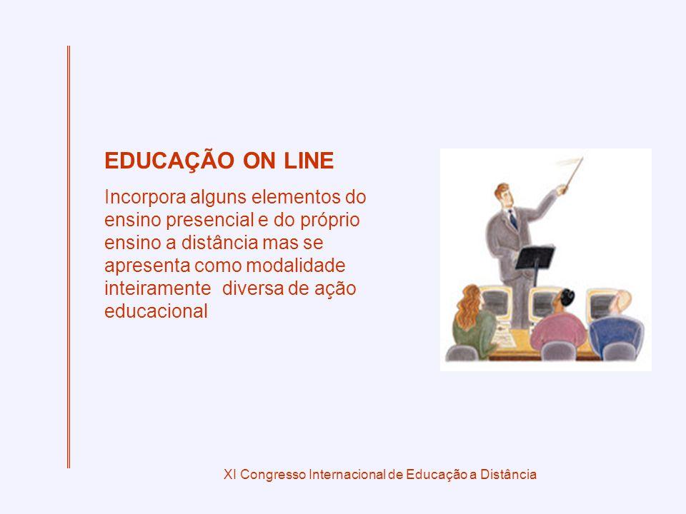 XI Congresso Internacional de Educação a Distância EDUCAÇÃO ON LINE Incorpora alguns elementos do ensino presencial e do próprio ensino a distância mas se apresenta como modalidade inteiramente diversa de ação educacional