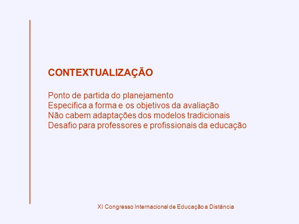 XI Congresso Internacional de Educação a Distância CONTEXTUALIZAÇÃO Ponto de partida do planejamento Especifica a forma e os objetivos da avaliação Nã