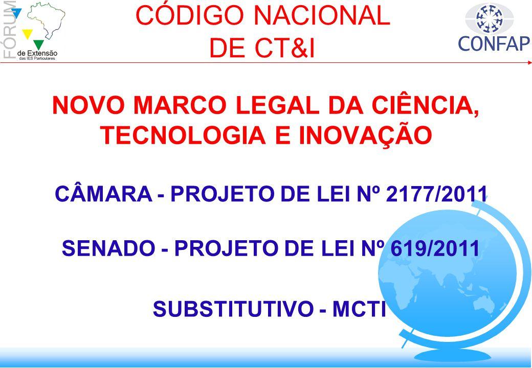 NOVO MARCO LEGAL DA CIÊNCIA, TECNOLOGIA E INOVAÇÃO CÓDIGO NACIONAL DE CT&I SENADO - PROJETO DE LEI Nº 619/2011 CÂMARA - PROJETO DE LEI Nº 2177/2011 SUBSTITUTIVO - MCTI