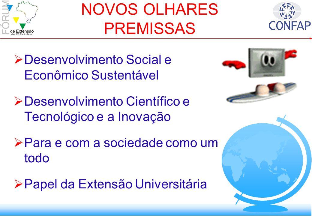 Desenvolvimento Social e Econômico Sustentável Desenvolvimento Científico e Tecnológico e a Inovação Para e com a sociedade como um todo Papel da Extensão Universitária NOVOS OLHARES PREMISSAS