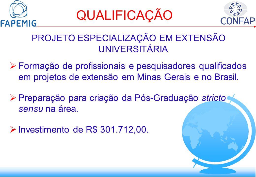 QUALIFICAÇÃO PROJETO ESPECIALIZAÇÃO EM EXTENSÃO UNIVERSITÁRIA Formação de profissionais e pesquisadores qualificados em projetos de extensão em Minas Gerais e no Brasil.