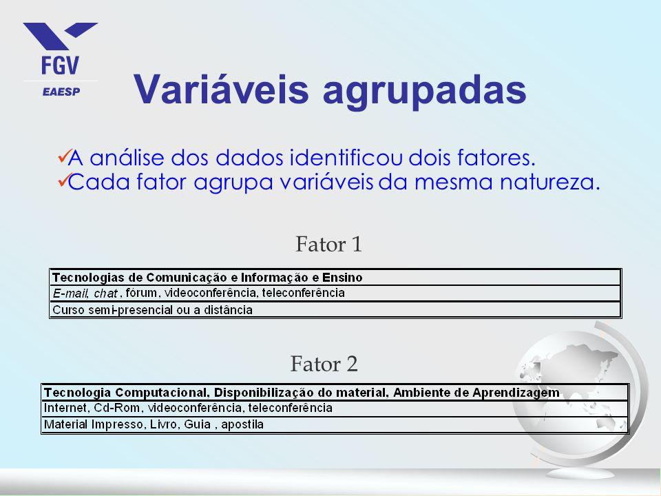 Variáveis agrupadas A análise dos dados identificou dois fatores. Cada fator agrupa variáveis da mesma natureza. Fator 1 Fator 2