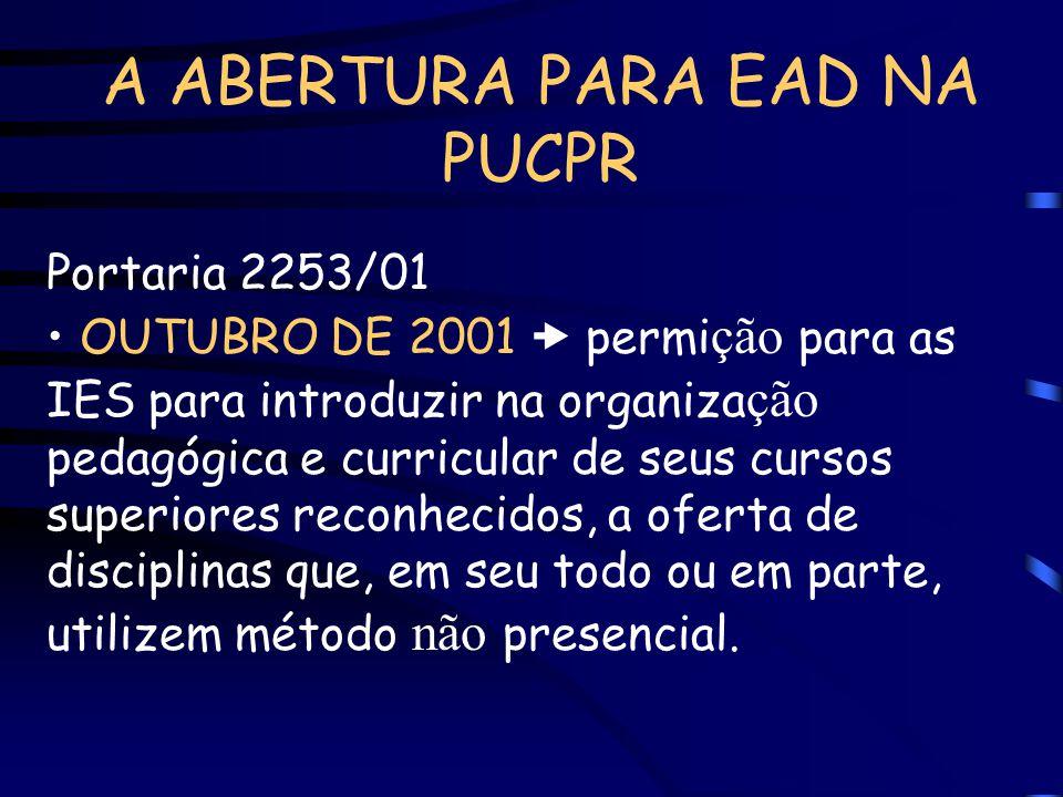 A ABERTURA PARA EAD NA PUCPR Portaria 2253/01 OUTUBRO DE 2001 permi ção para as IES para introduzir na organiza ção pedagógica e curricular de seus cu