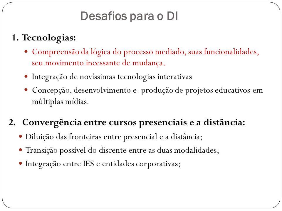 Desafios para o DI 1. Tecnologias: Compreensão da lógica do processo mediado, suas funcionalidades, seu movimento incessante de mudança. Integração de
