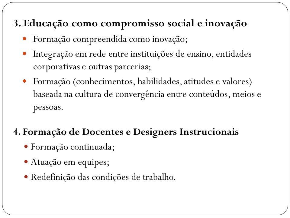 3. Educação como compromisso social e inovação Formação compreendida como inovação; Integração em rede entre instituições de ensino, entidades corpora