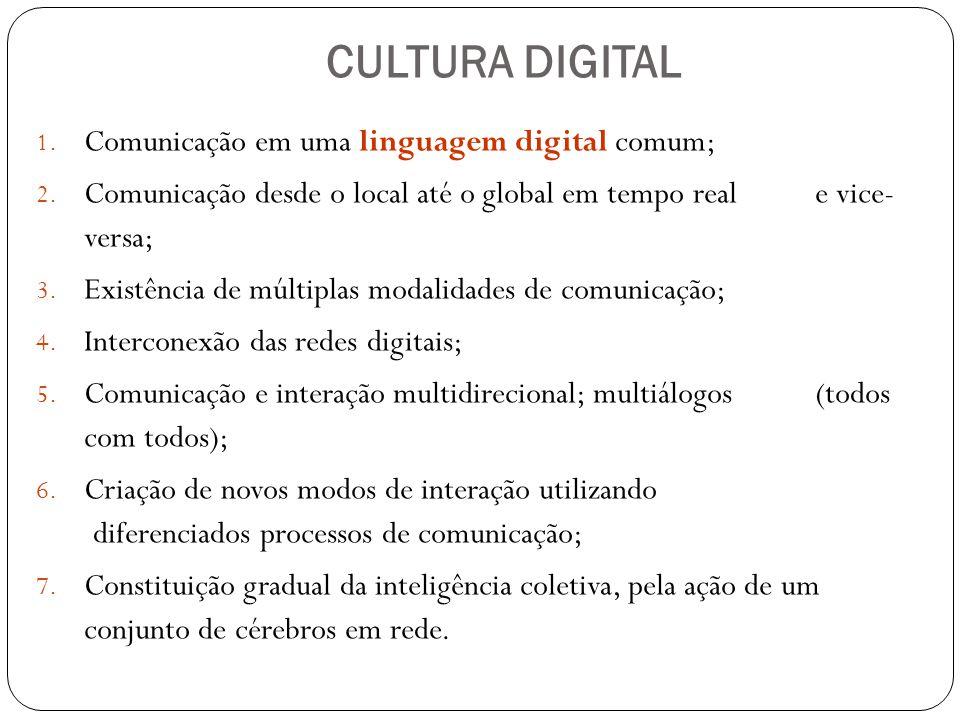 CULTURA DIGITAL 1. Comunicação em uma linguagem digital comum; 2. Comunicação desde o local até o global em tempo real e vice- versa; 3. Existência de
