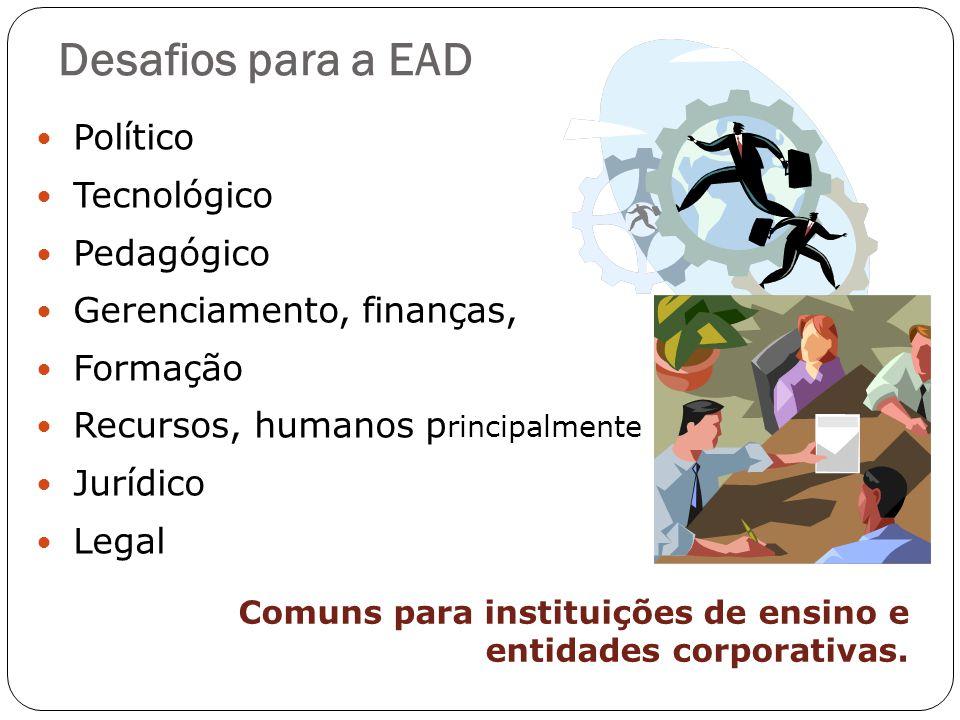 Desafios para a EAD Político Tecnológico Pedagógico Gerenciamento, finanças, Formação Recursos, humanos p rincipalmente Jurídico Legal Comuns para ins