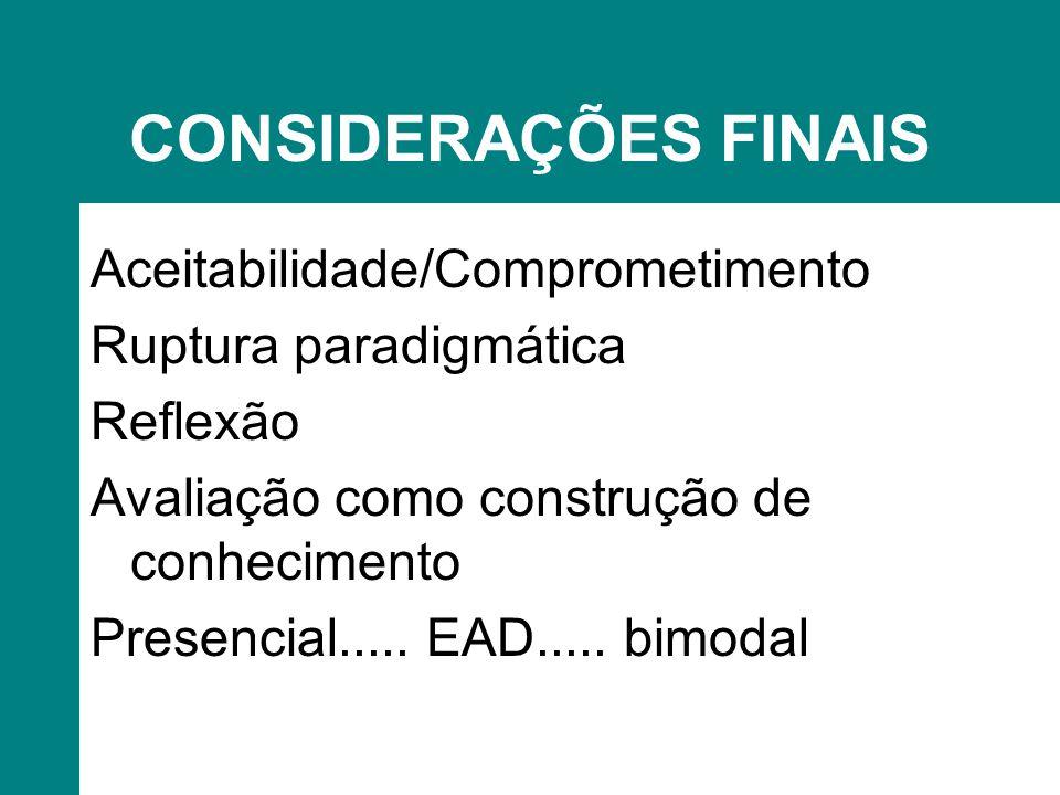 CONSIDERAÇÕES FINAIS Aceitabilidade/Comprometimento Ruptura paradigmática Reflexão Avaliação como construção de conhecimento Presencial.....