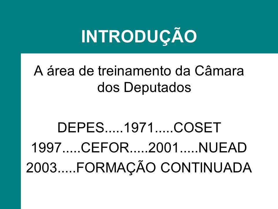 INTRODUÇÃO A área de treinamento da Câmara dos Deputados DEPES.....1971.....COSET 1997.....CEFOR.....2001.....NUEAD 2003.....FORMAÇÃO CONTINUADA