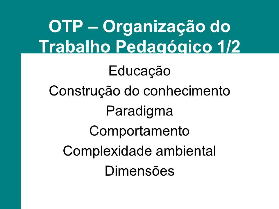 OTP – Organização do Trabalho Pedagógico 1/2 Educação Construção do conhecimento Paradigma Comportamento Complexidade ambiental Dimensões