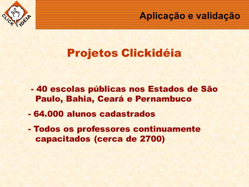 - 40 escolas públicas nos Estados de São Paulo, Bahia, Ceará e Pernambuco - 64.000 alunos cadastrados - Todos os professores continuamente capacitados (cerca de 2700) Projetos Clickidéia Aplicação e validação