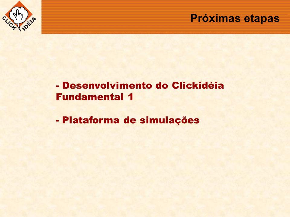 Próximas etapas - Desenvolvimento do Clickidéia Fundamental 1 - Plataforma de simulações