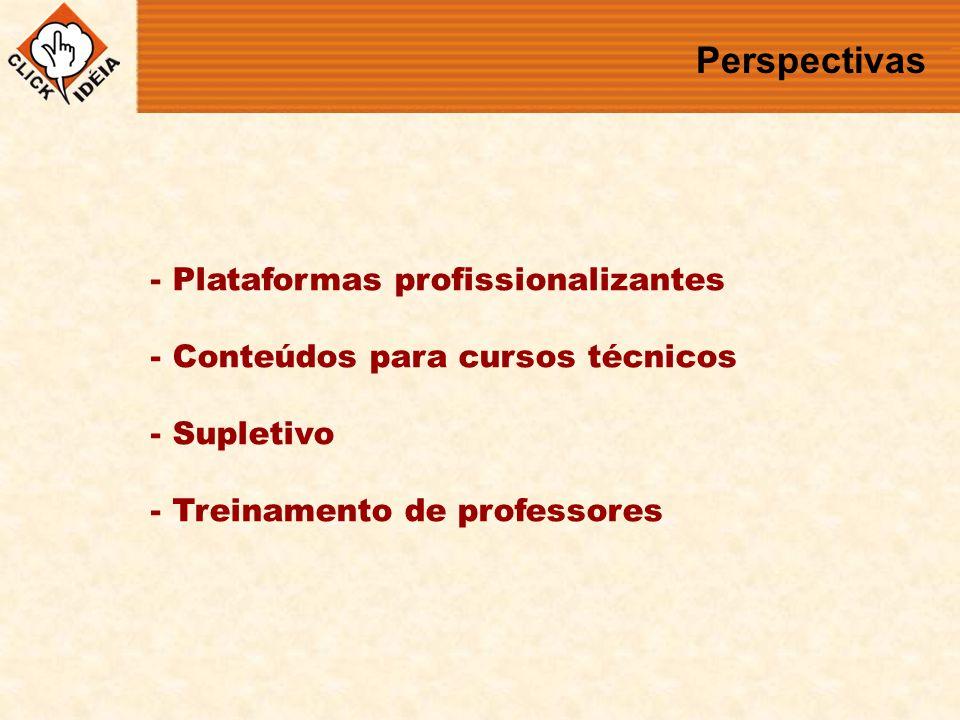 Perspectivas - Plataformas profissionalizantes - Conteúdos para cursos técnicos - Supletivo - Treinamento de professores